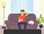 Young man sitting at home on the sofa watching tv and relaxing with cat. Flat illustration of resting at home on couch and spending time watching serials, tv show or sport channels