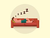 Young man sleeping on the couch, flat vector illustration