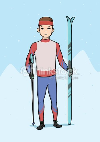 Young man standing with cross country skiing. Winter sports, ski race. Vector illustration.