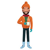 Young man with coffee cup winter cartoon icon vector illustration graphic design