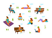 young men and women with mobile phones laptops tablets working chatting texting in the city park isolated vector illustration set