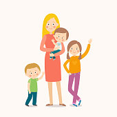 Young mother standing with her three children. Happy family. Cartoon vector eps 10 illustration isolated on white background in a flat style