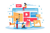 Young people create web site design. Concept online workplace, man and woman at work, employee, administrator, landing page. Vector illustration.