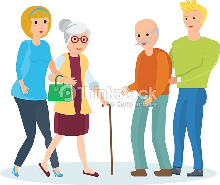 Young people with their relatives walk, help them, share time
