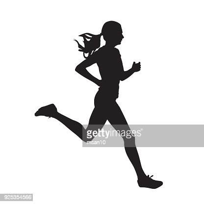 Young running woman, isolated vector silhouette. Run, side view : Vector Art