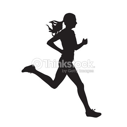 Young running woman, isolated vector silhouette. Run, side view : arte vetorial