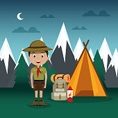 young scout in the camping zone scene vector illustration design