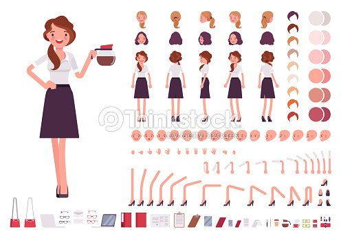 Young secretary character creation set : stock vector