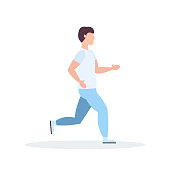 young sportsman running guy jogging active fithess training healthy lifestyle concept male cartoon character full length flat vector illustration