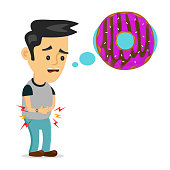 Young suffering sad man is hungry. thinks about food, fast food, donut. Vector flat cartoon illustration icon design. Isolated on white background. Hungry,tasty donut concept