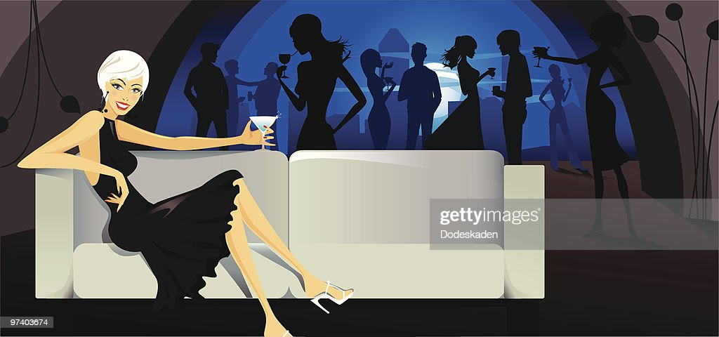 Young Woman Drinking Cocktail on Sofa in Nightclub : Vector Art