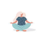 Vector illustration, woman character sitting in a yoga pose in a modern flat style.