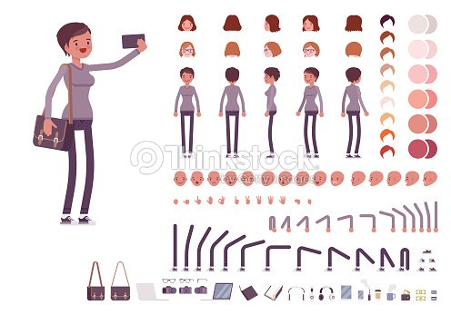Young woman in casual clothes. Character creation set : stock vector