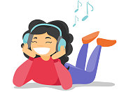 Caucasian woman listening to music on her smartphone. Young woman in headphones listening to music. Relaxed woman with eyes closed enjoying music. Vector cartoon illustration. Square layout.