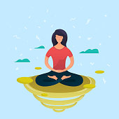 Girl doing yoga and get calm. Vector illustration.