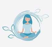Young woman meditating vector. Relax concept illustration. Energy flowing around her.