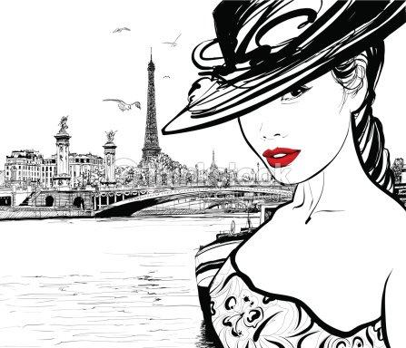 Jeune Femme Pr 232 S De La Seine 192 Paris Clipart Vectoriel