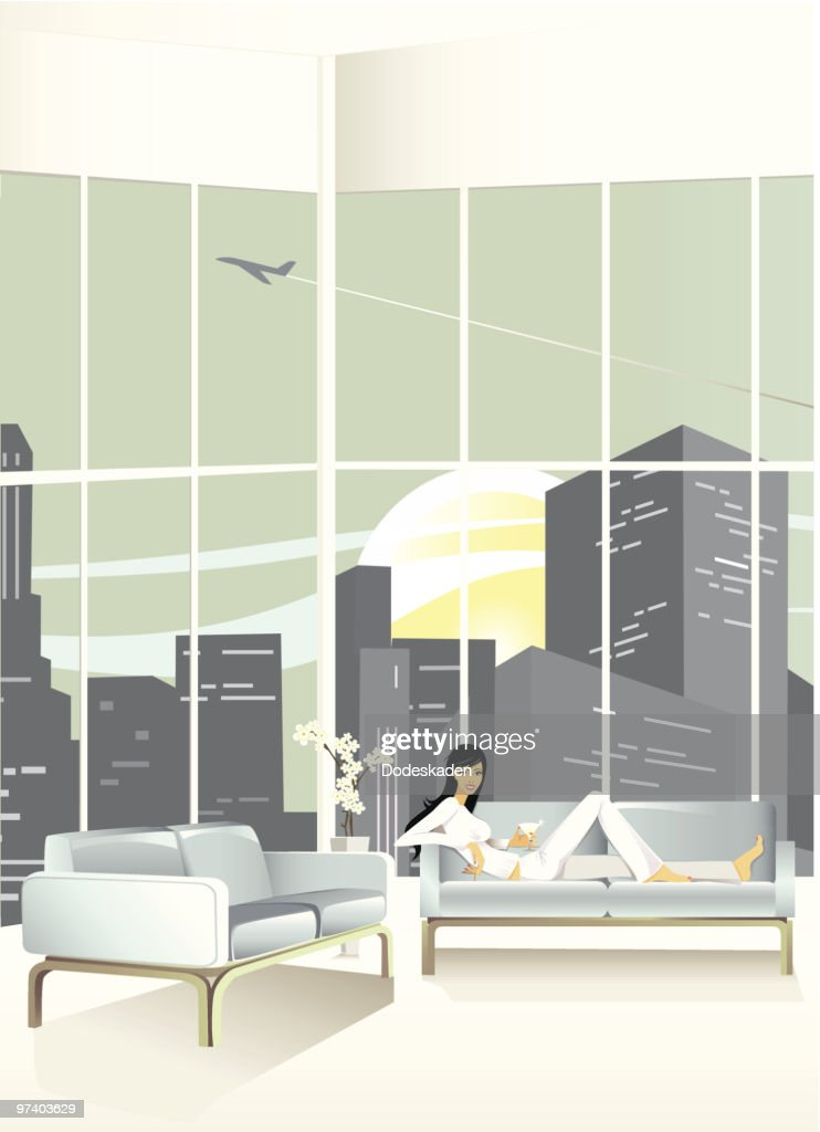 Young Woman Relaxing on Couch in Loft Apartment : Vector Art