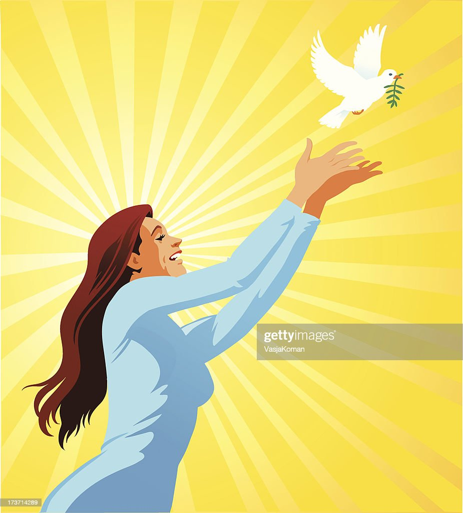 Young Woman Releasing a White Dove : Vector Art