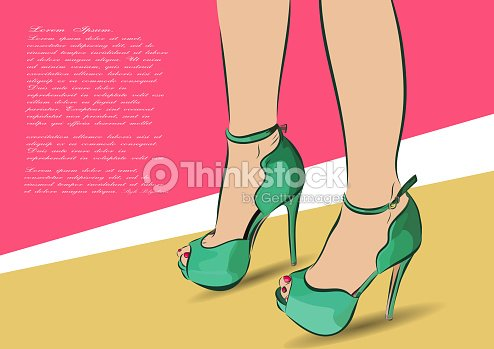 24ac4af8 Mano Dibujar Ilustración De Moda Mujer Compras Joven Por Con Zapatos ww6YxA
