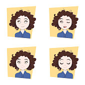 Young Woman With Different Facial Emotions Set Of Girl Face Expressions Vector Illustration