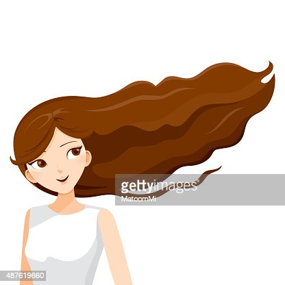 young woman with long curly brown hair vector art thinkstock