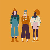 Young women friends illustration. Girl power concept.