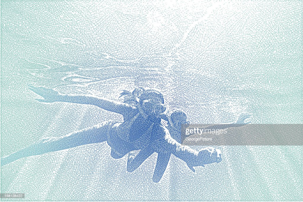 Young Women Snorkeling : Vector Art