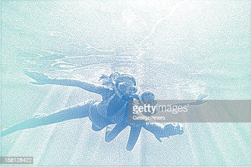 Young Women Snorkeling : Vector Art