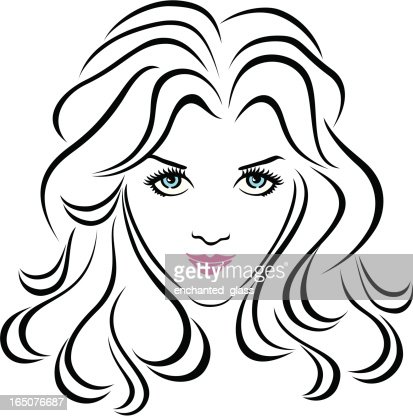 Young Womens Face : Vector Art