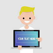 Your text here. Smiling millennial character pointing on the laptop screen / flat editable vector illustration, clip art