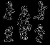 Simple line art of youth baseball catching positions vector illustration drawing doodle black and white colored.
