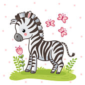 Zebra standing on a flower meadow. Cute african animal in cartoon style. Vector illustration.
