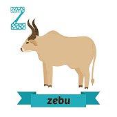 Zebu. Z letter. Cute children animal alphabet in vector. Funny cartoon animals. Vector illustration