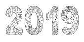 Handwritten number 2019 patterned with zen-tangle shapes, isolated on white. Hand drawn font 2019 for decorate cover calendar, banner, poster, invitation, new year card, adult coloring book. eps 10