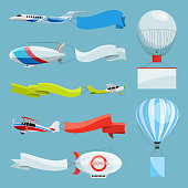Zeppelins and airplanes with empty banners for advertising messages. Vector illustrations airplane and zeppelin with advertising with place for your text