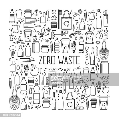 Zero waste concept. Line art collection of eco and waste elements : stock vector