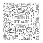 Zero waste concept. Monochrome line art collection of eco and waste elements.