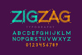 Zigzag font stitched with thread, embroidery font alphabet letters and numbers vector illustration