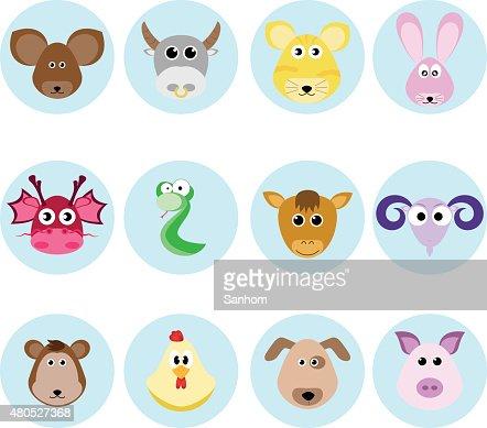 Chinesische Horoskop Tierkreis Kultur Vektor-set-design : Vektorgrafik