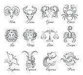 Zodiac graphic signs vector. Astrological zodiac symbols or zodiac icons