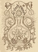 Occult and esoteric vector engraved illustration, tattoo gothic and wicca concept