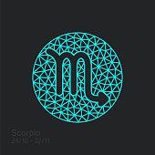 Scorpio zodiac sign in circular frame, vector Illustration. Contour icon.