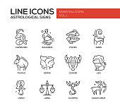 Set of modern vector plain line design icons and pictograms of 12 zodiac signs. Capricorn, aquarius, pisces, aries, taurus, gemini, cancer, leo, saggitarius, virgo
