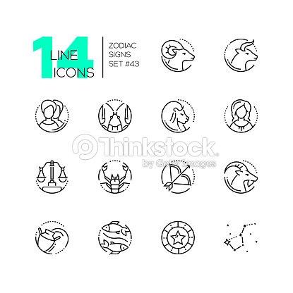 Calendrier Du Zodiaque.Signes Du Zodiaque Definir Des Icones Du Style Ligne Design