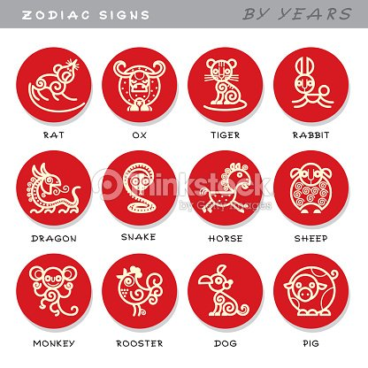 Zodiac Signs Vector Icons Of Astrological Animals By Years Symbols