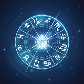 Zodiac signs with moon in center in vector