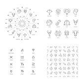 Vector illustration set zodiacal symbols circle.