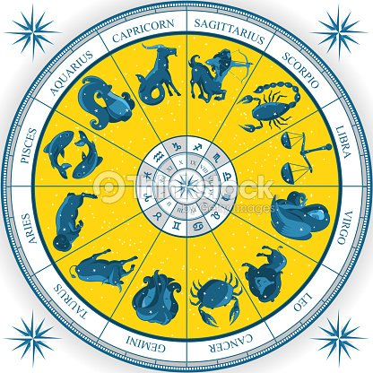 Zodiac Wheel Astrology Natal Chart Vector Art Thinkstock