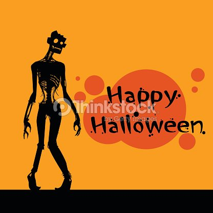 zombie cartoon happy halloween banner walking dead man body skeleton vector art